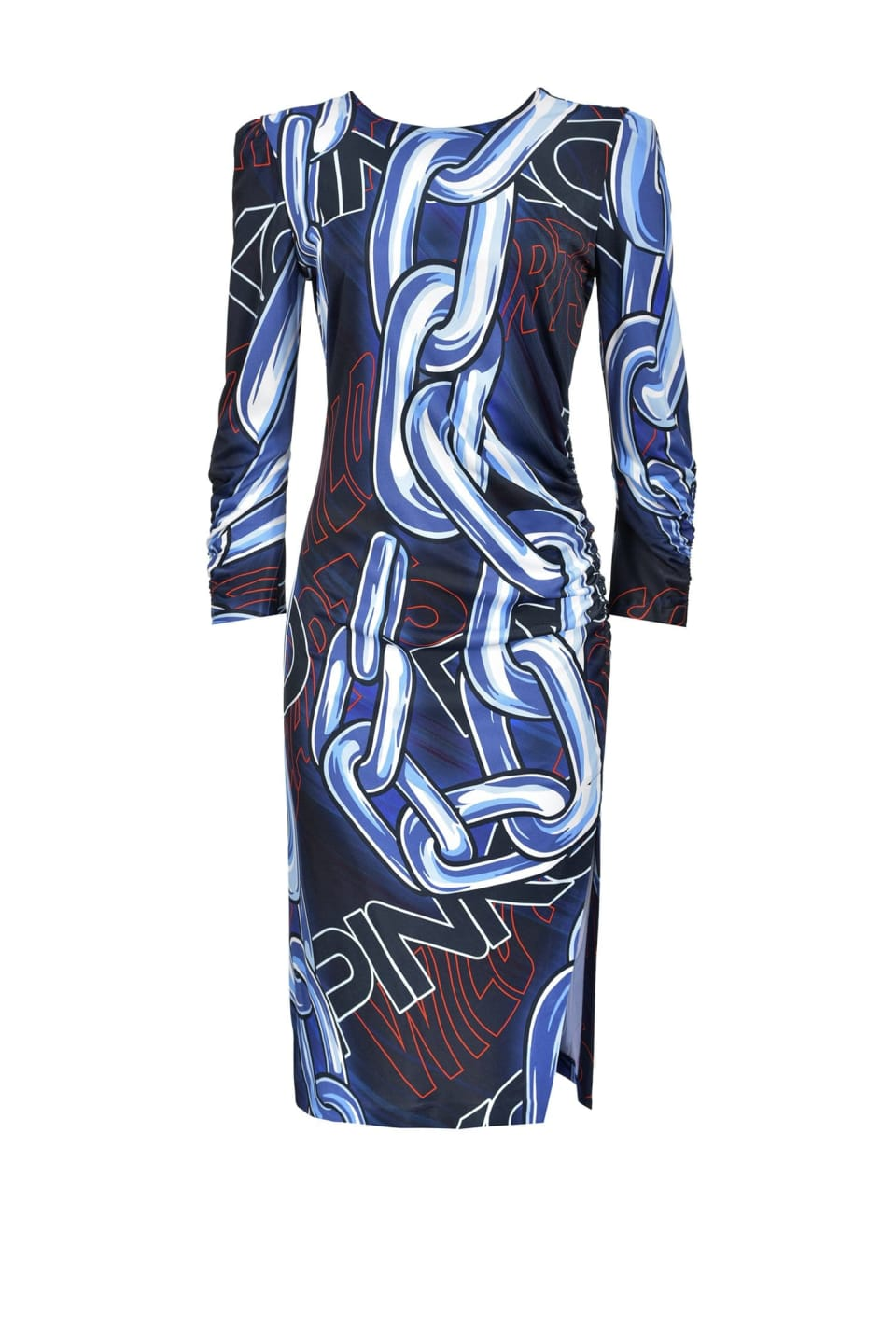Macro chain and logo print dress