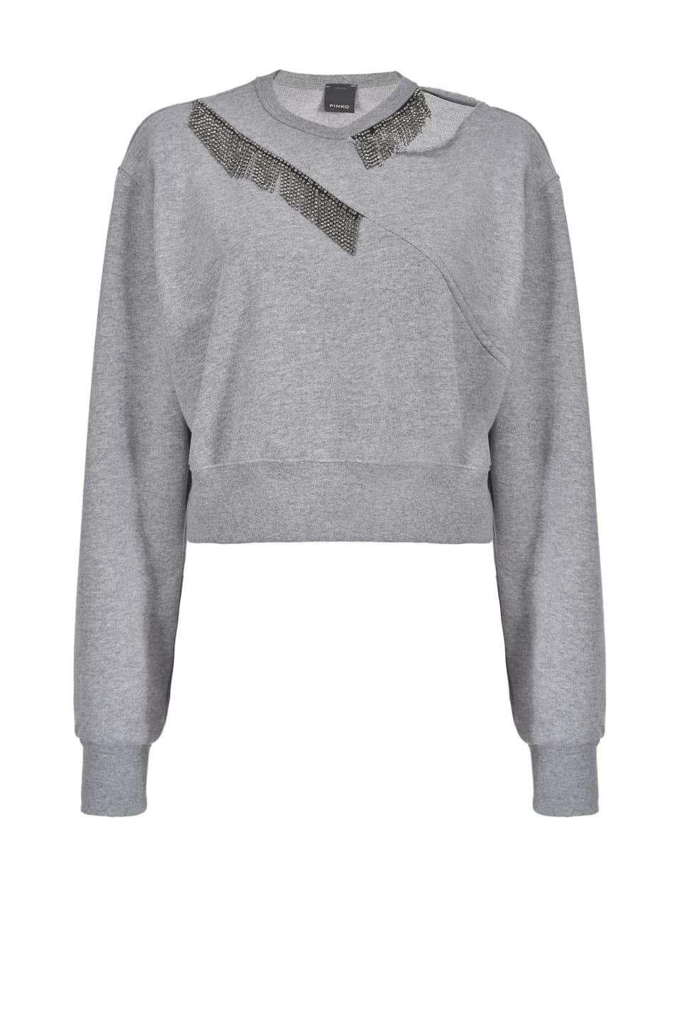 Rhinestone fringe sweatshirt