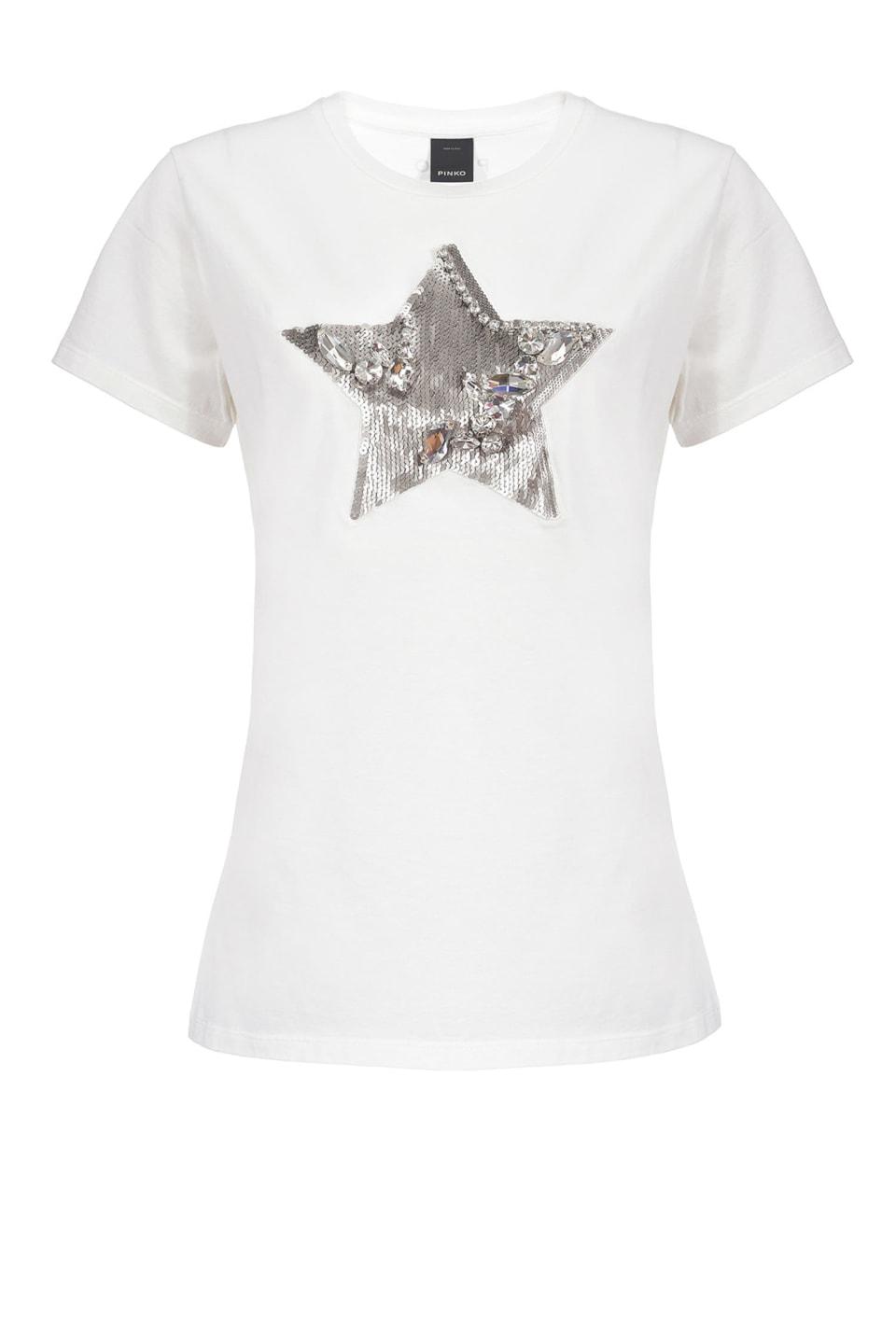 スパンコールとラインストーンの星付きTシャツ