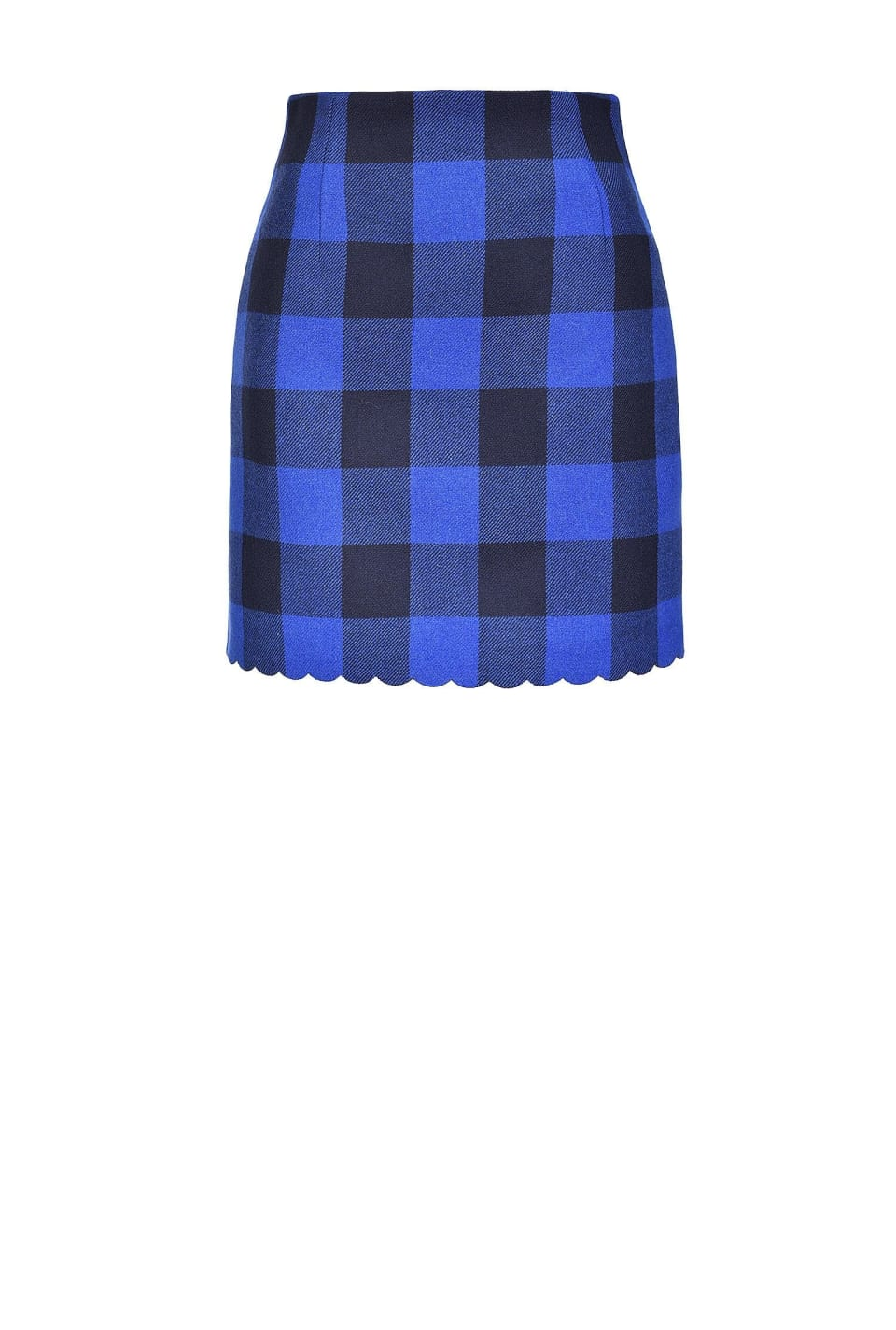 Check wool blend Melton mini skirt