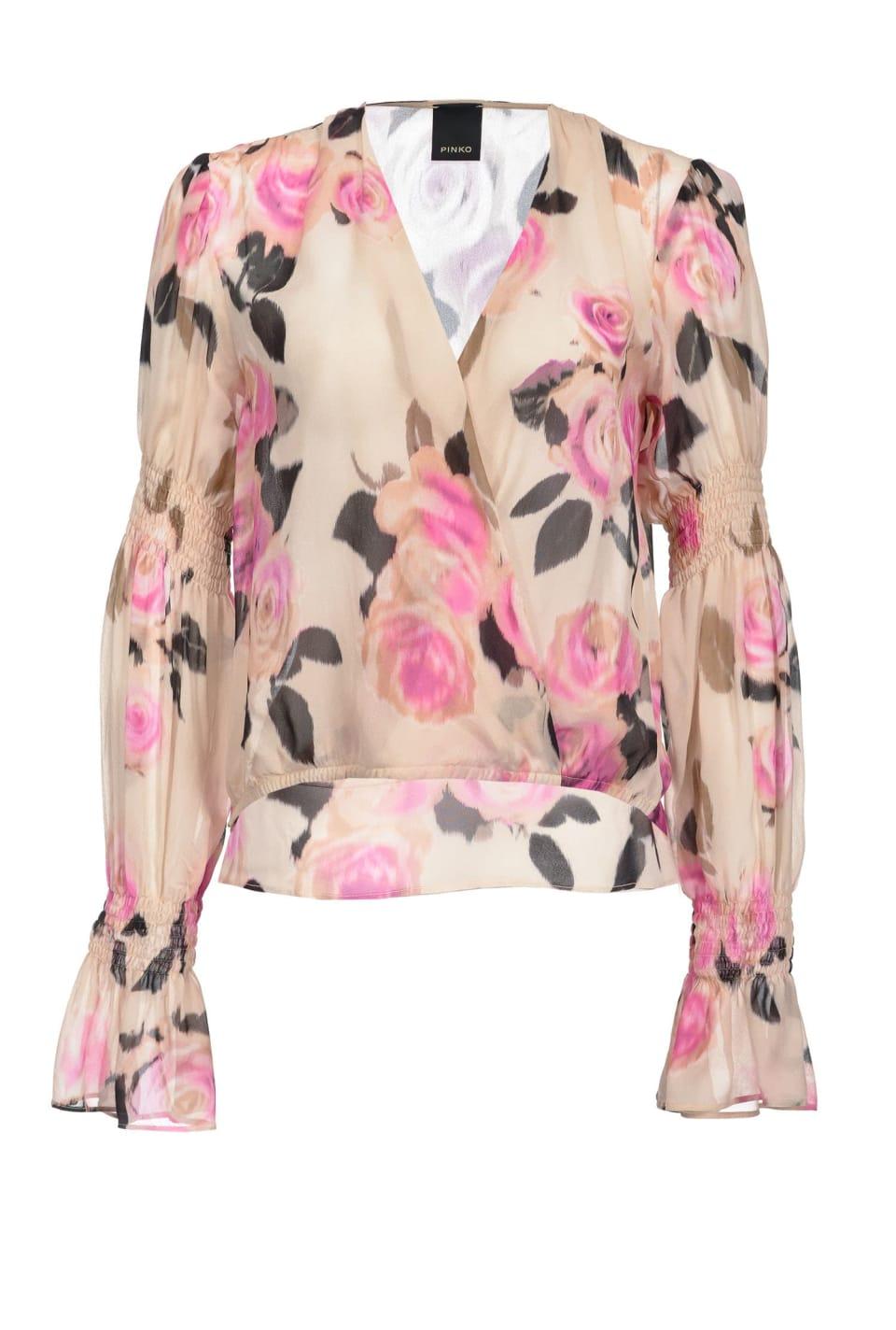 Blusa con estampado de flores chiné
