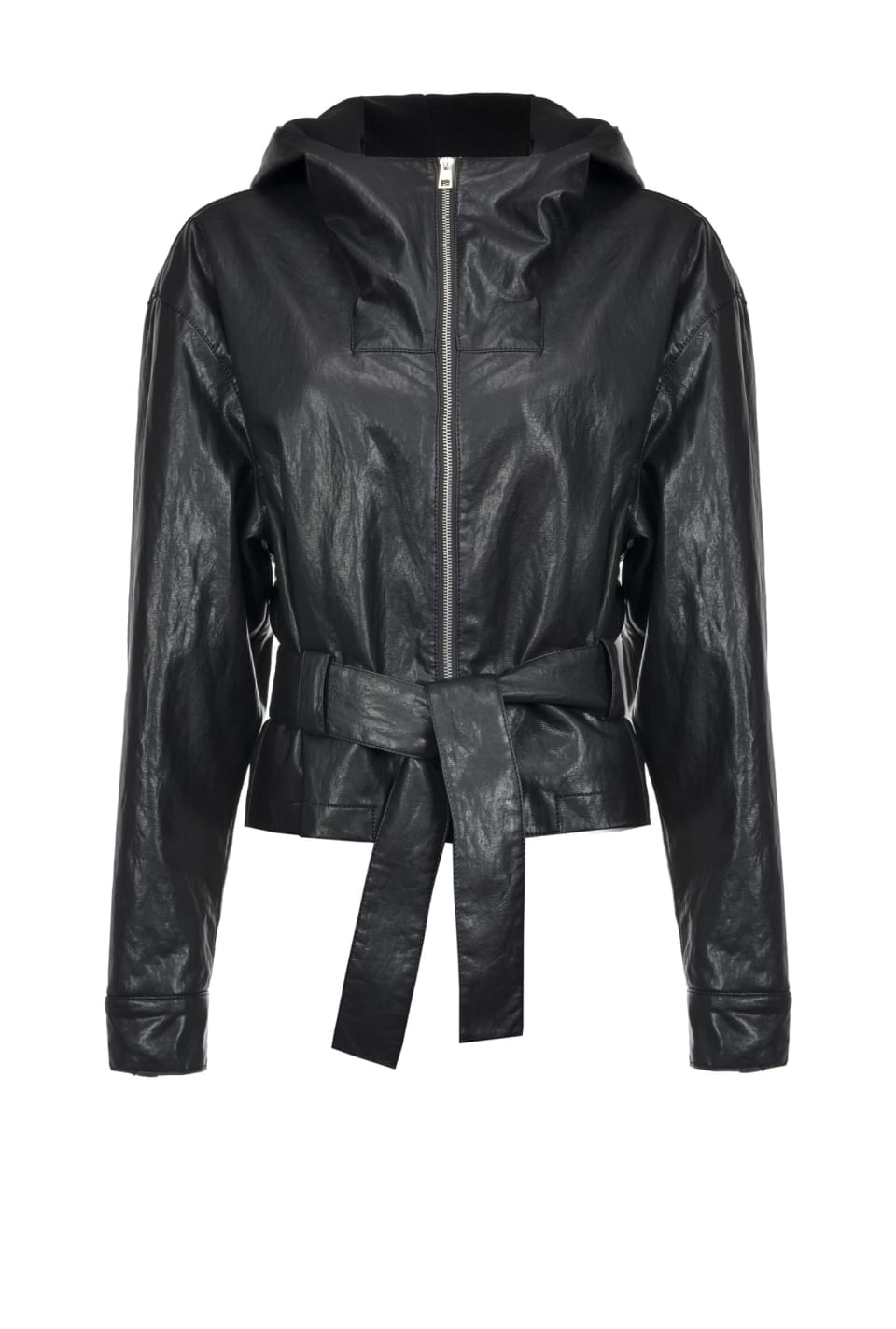 Jacket in leather-look fabric