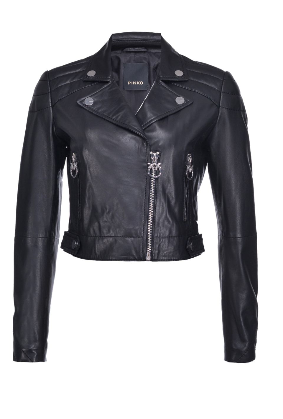 Oiled leather biker jacket - Pinko