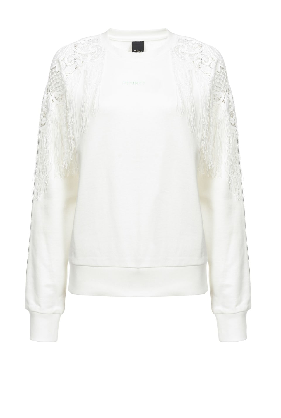 Sweatshirt with fringe and macramé