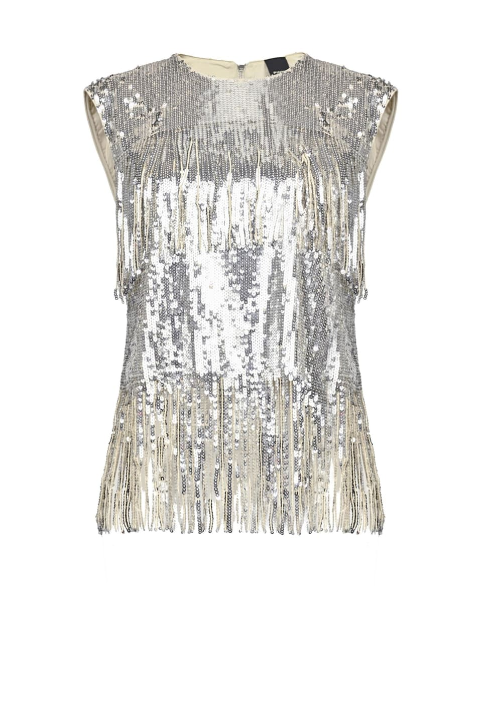 Top en sequins avec franges