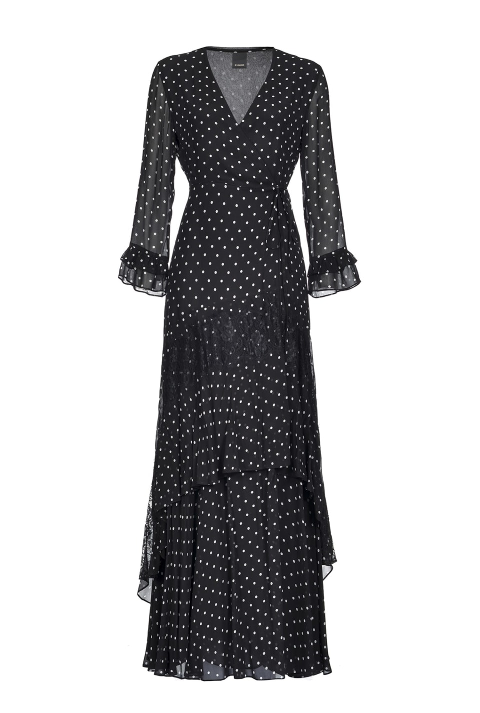 Maxi polka dot dress with flounces