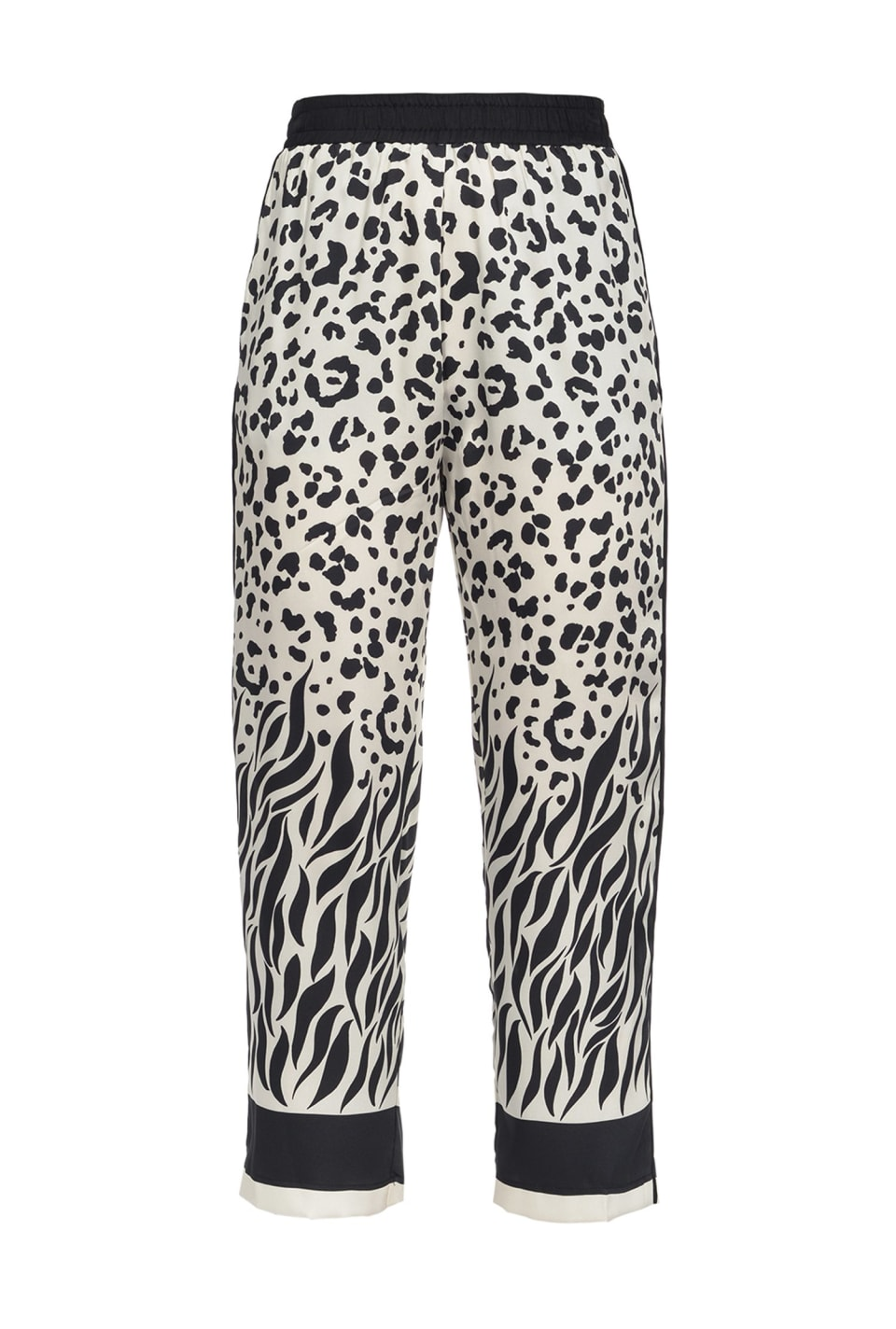 Trousers with mixed faded animal pattern