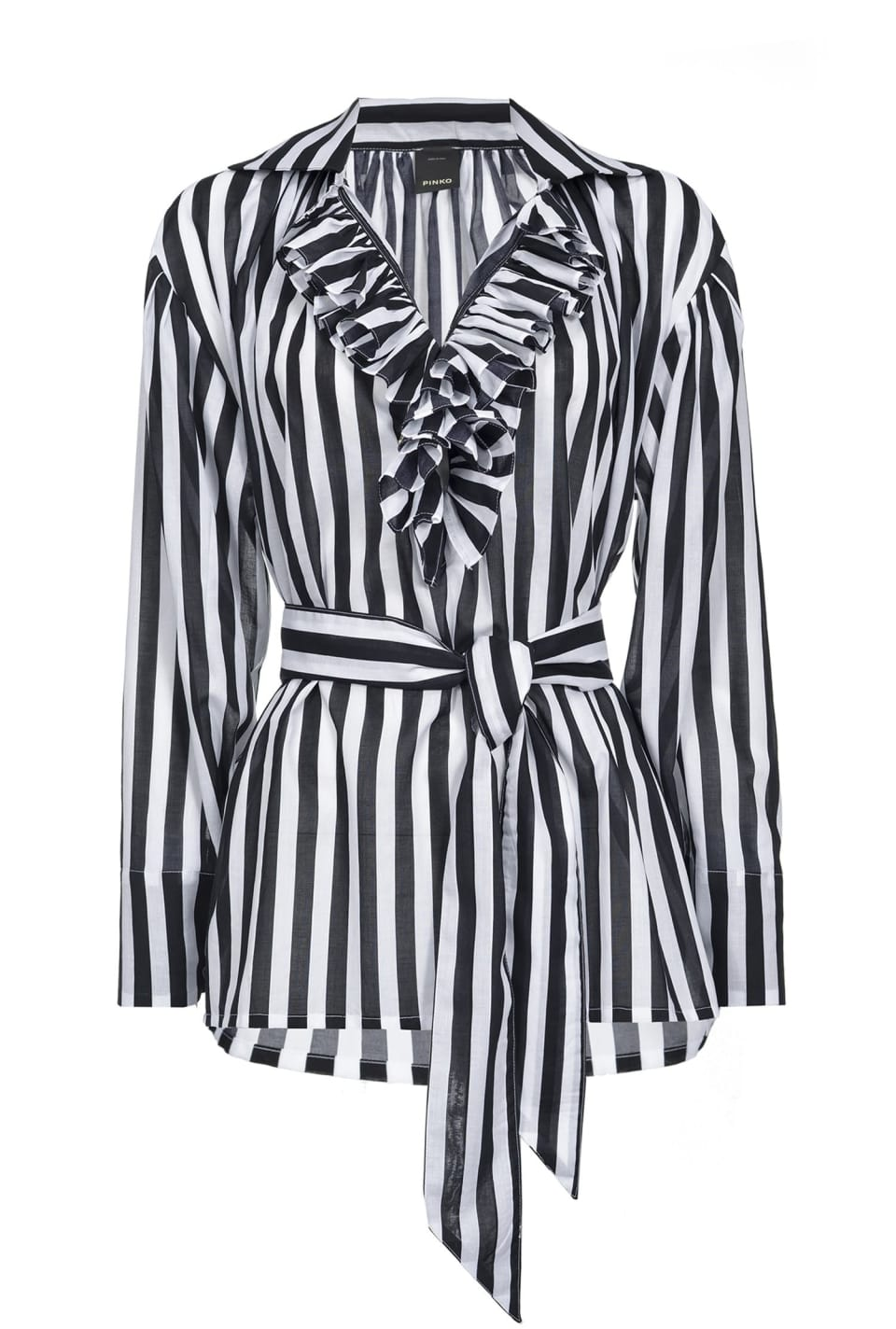 Striped blouse with belt