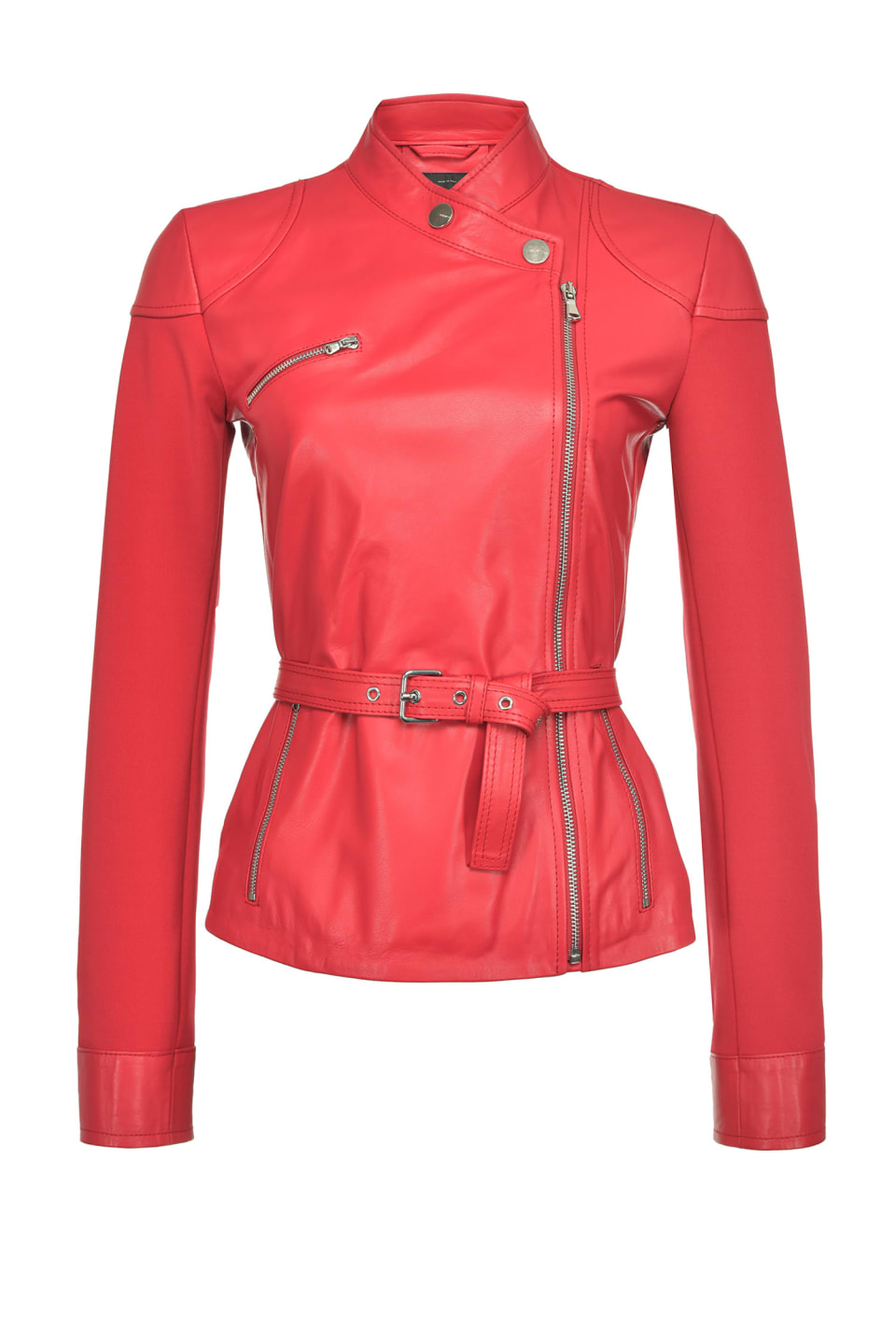 Two-material biker jacket - Pinko