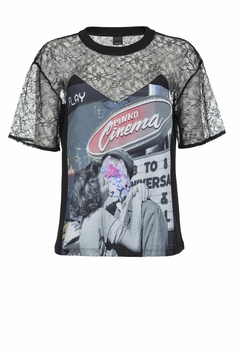 プリント&レース Tシャツ