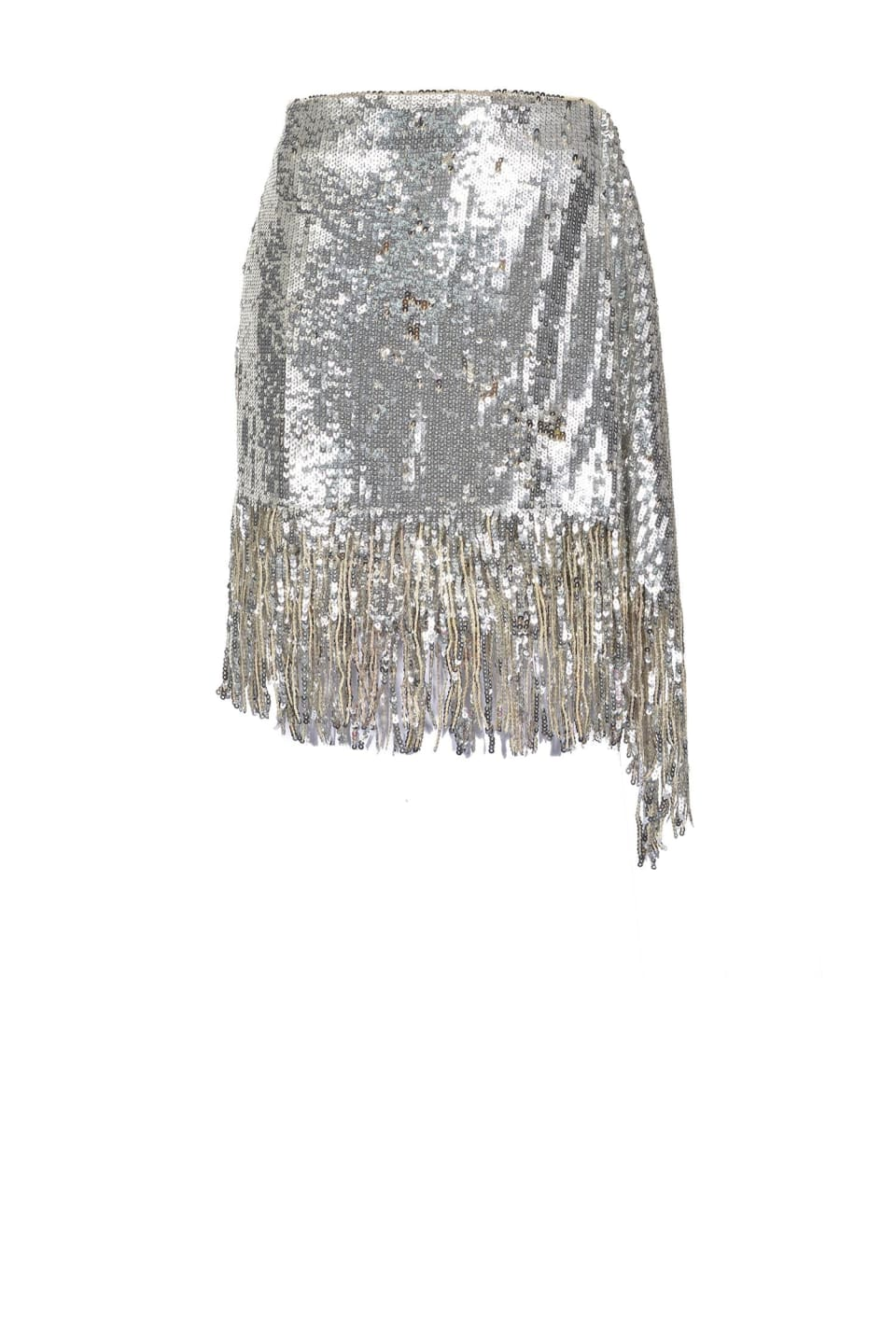 Mini skirt in full sequins with fringe