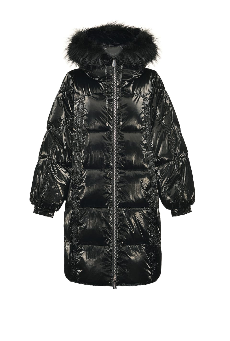 Technical velvet quilted coat with faux fur