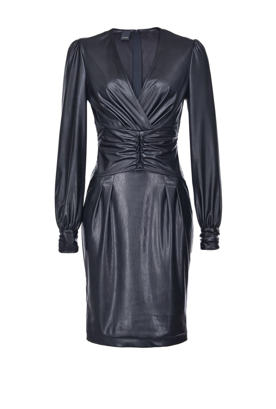 Leather-look midi-length dress