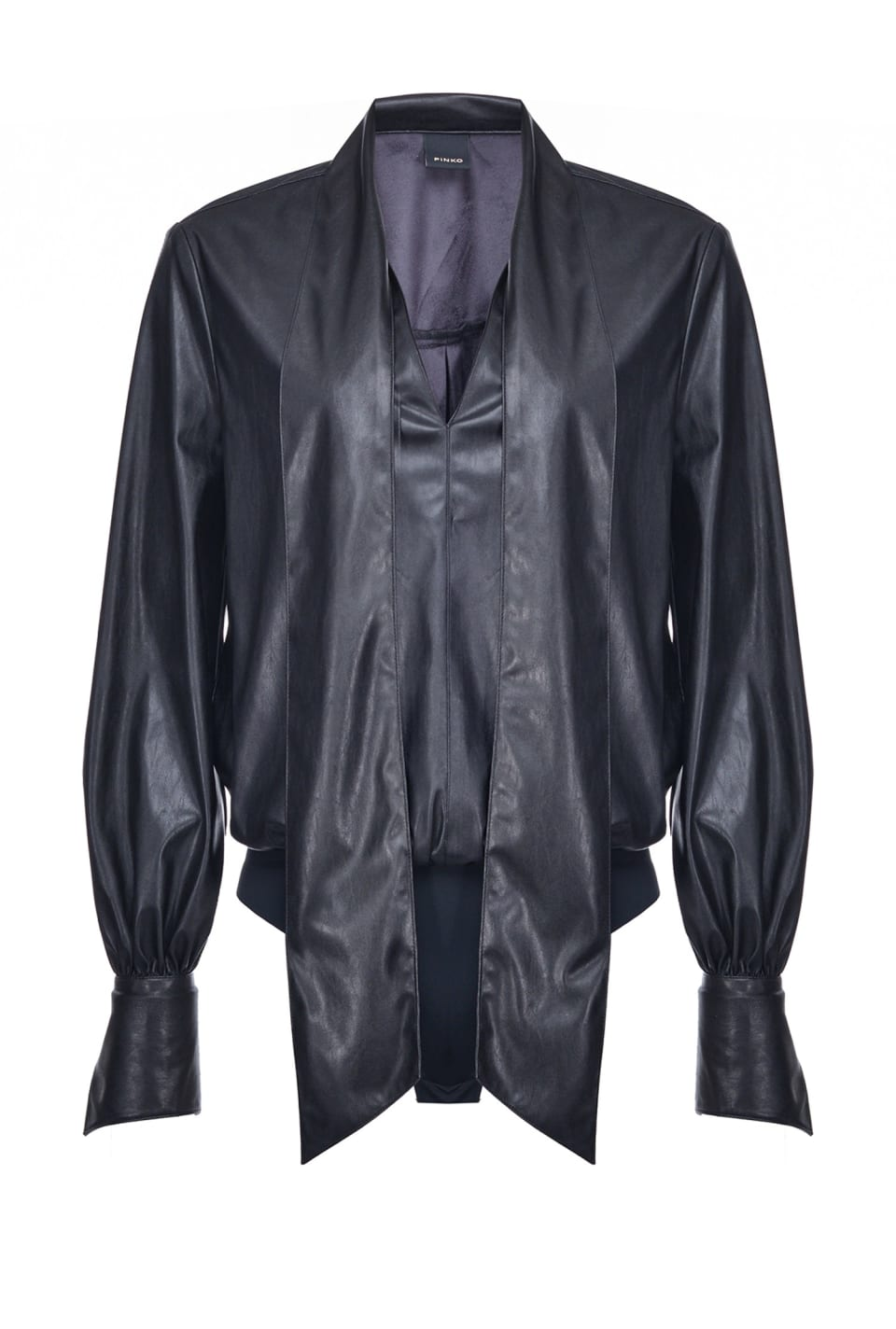 Leather-look shirt bodysuit