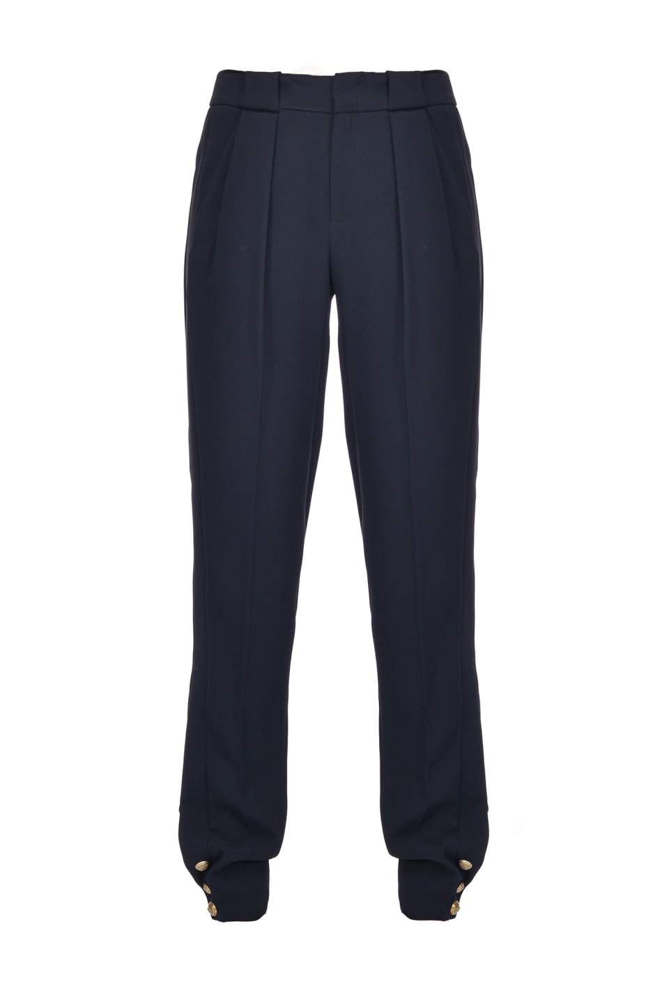 Trousers with buttons at the hem