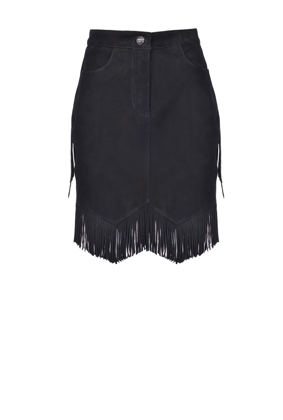 Suede mini skirt with fringes - Pinko