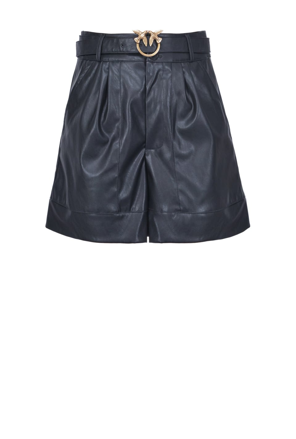 Leather-look shorts with Love Birds buckle - Pinko
