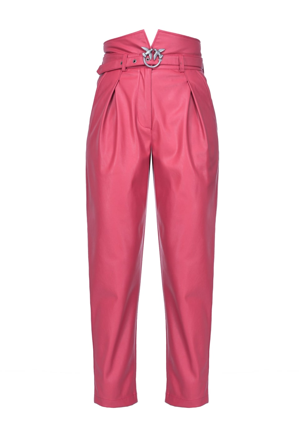 Leather trousers with Love Birds buckle - Pinko