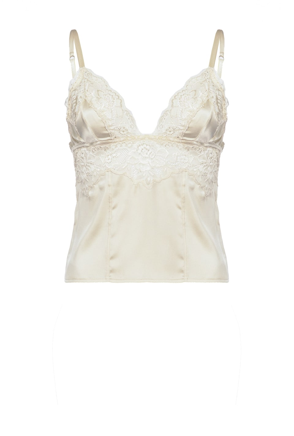 Lingerie top in satin and lace - Pinko