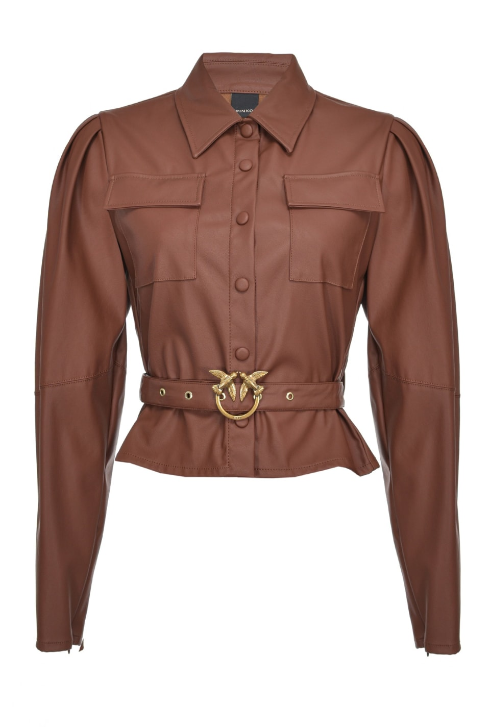 Short leather-look shirt with Love Birds buckle - Pinko