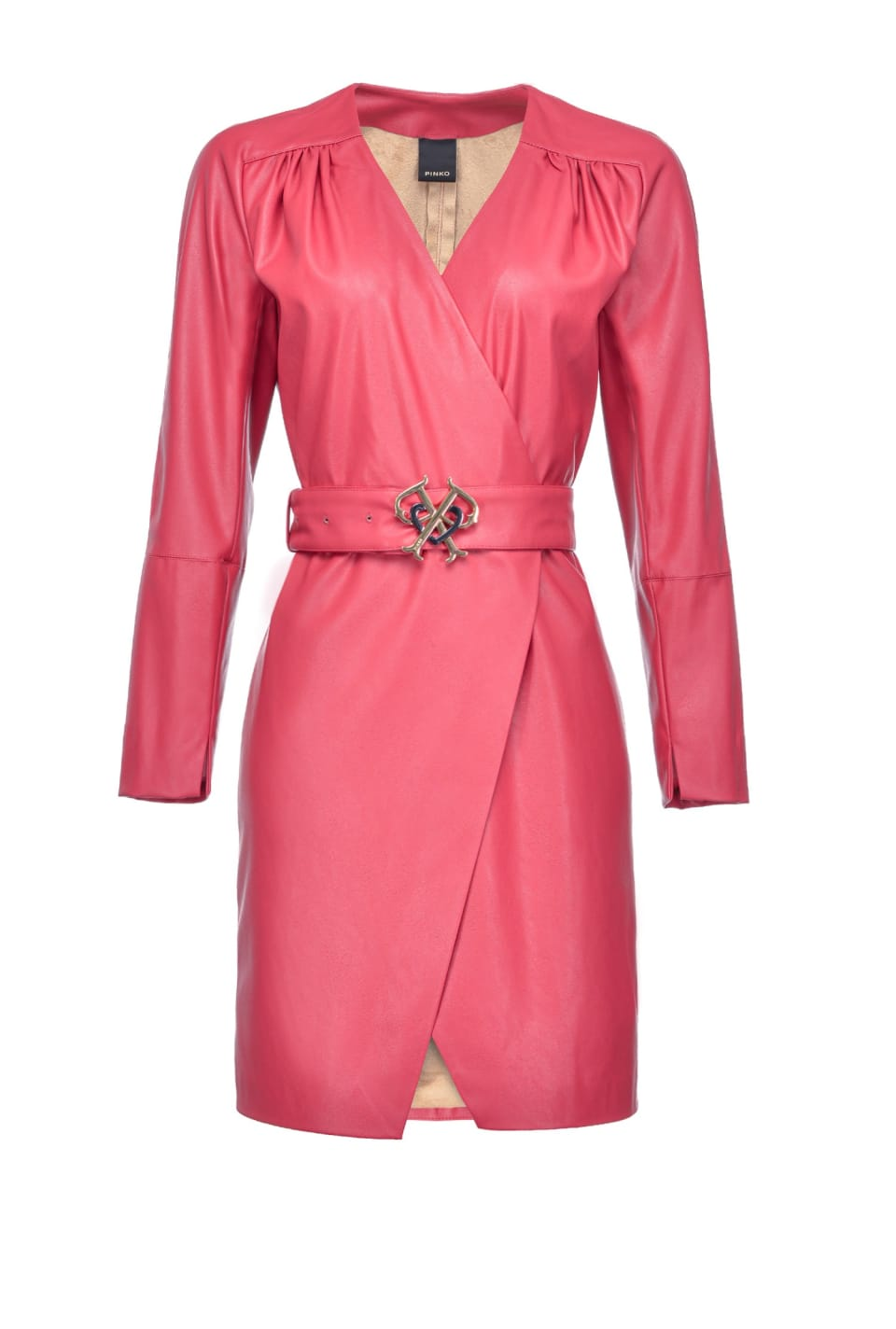 Leather-look dress with Double P buckle - Pinko