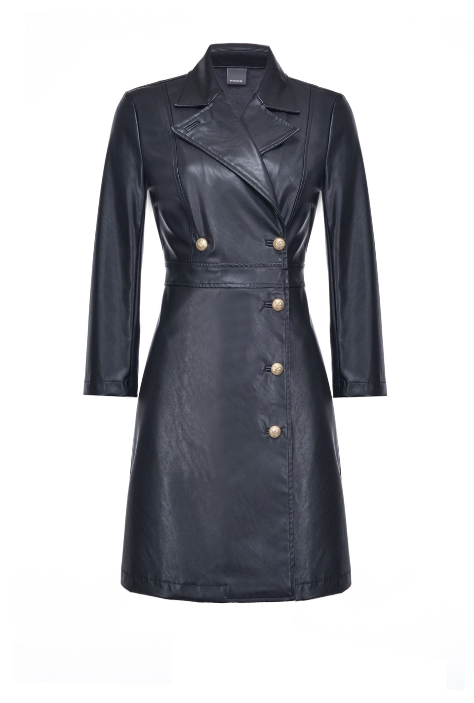 Double-breasted leather-look dress with buttons