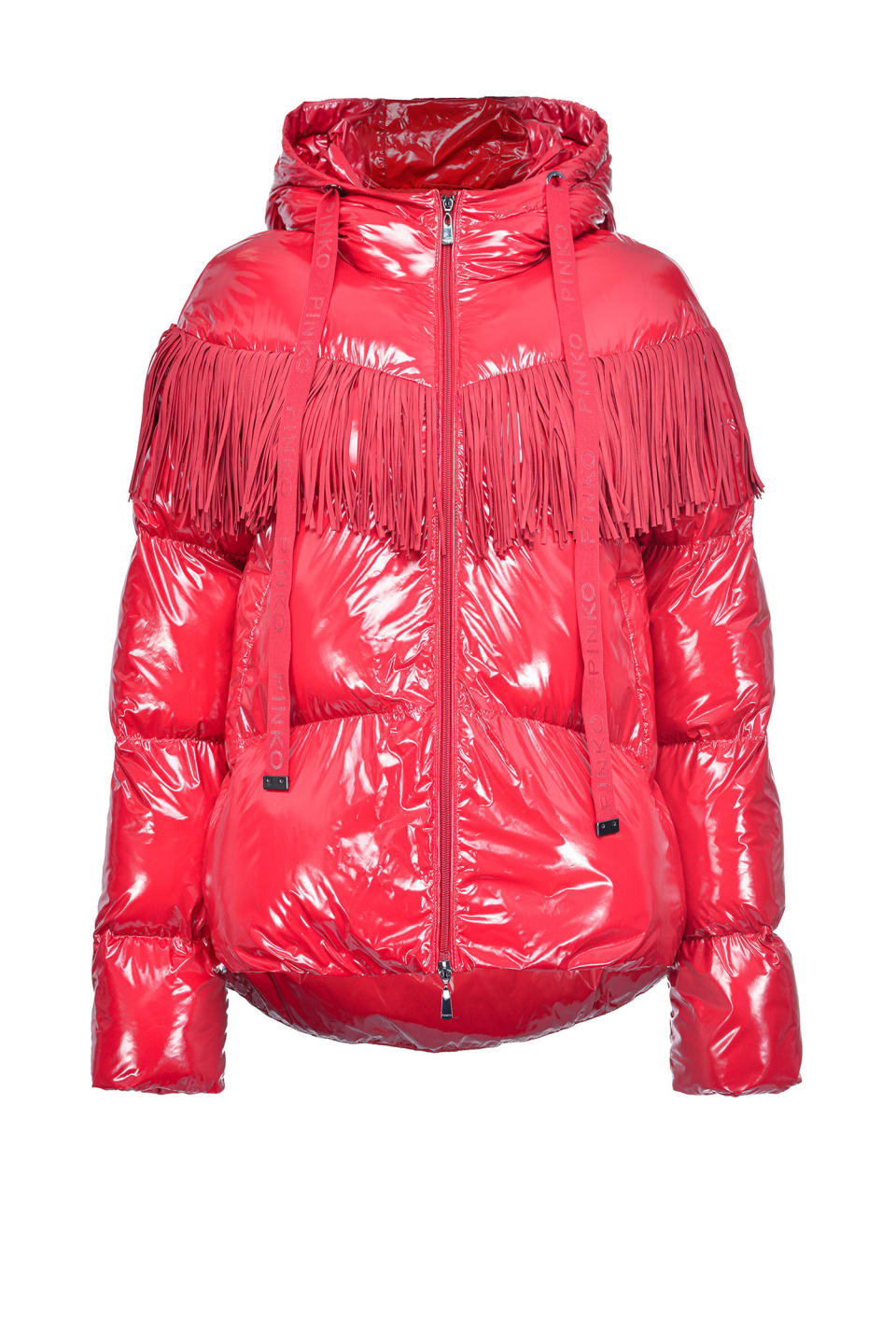 Nylon crystal quilted coat with fringes - Pinko