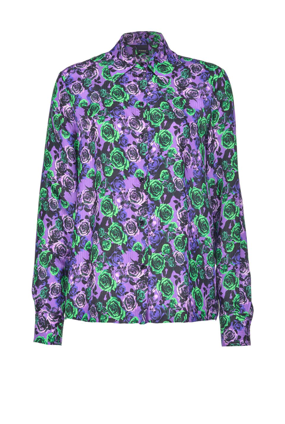 Camicia in jacquard stampa rose - Pinko