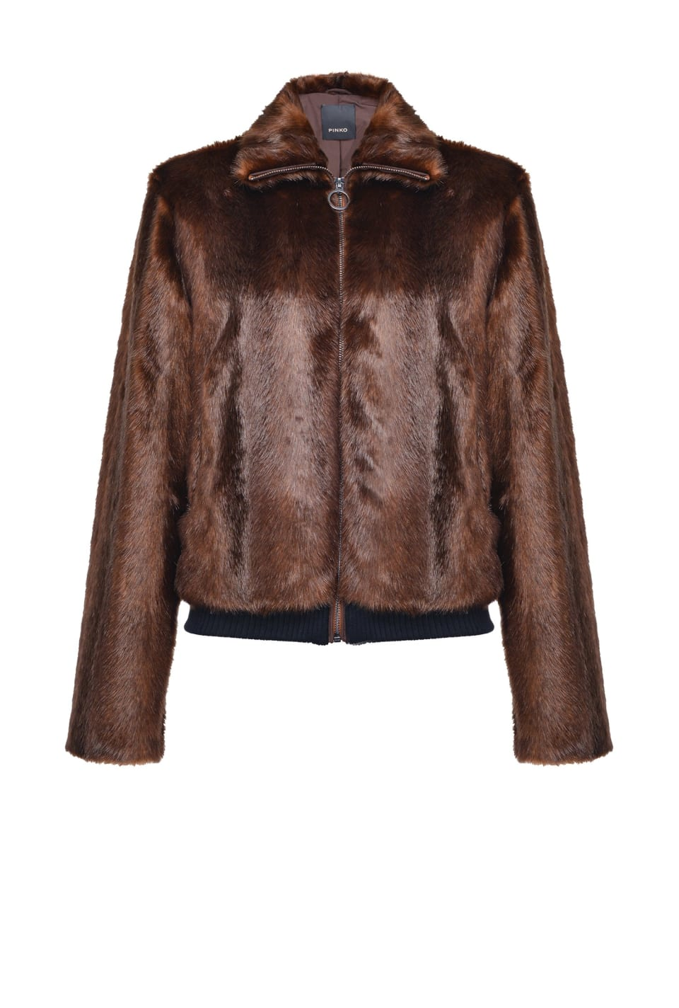 Mink-effect bomber jacket