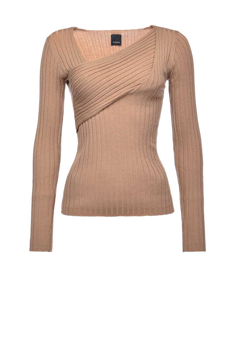 Rib knit top with crossover detail - Pinko