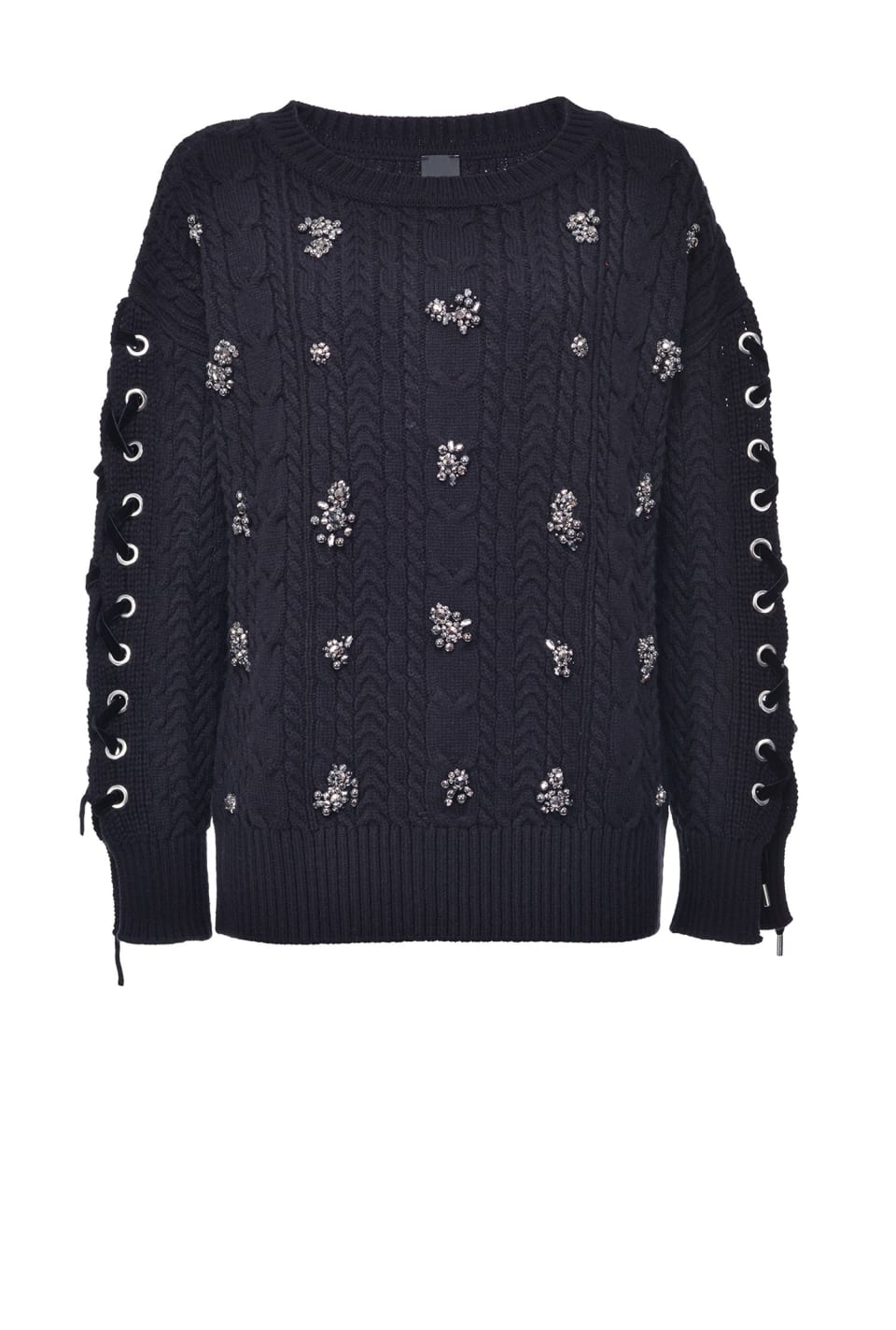 Braided pullover with embroidery - Pinko