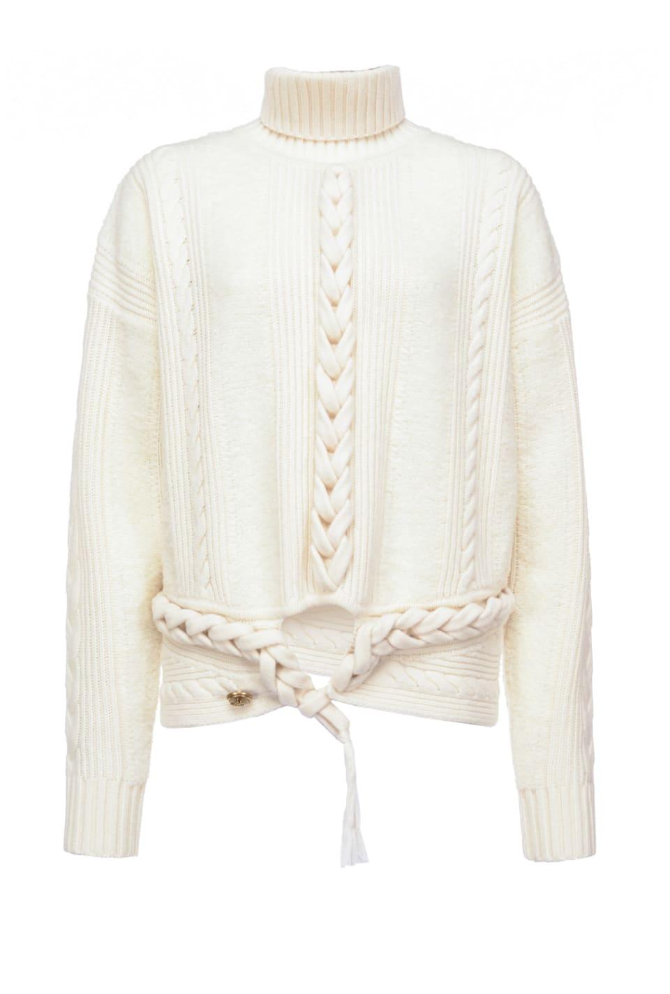 辫状花纹羊毛套头衫 - Pinko