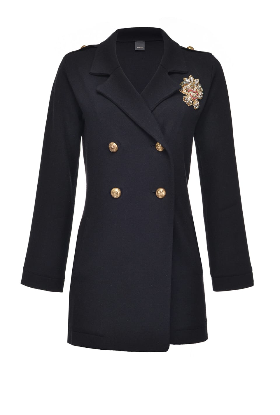 Pea coat with patch brooch