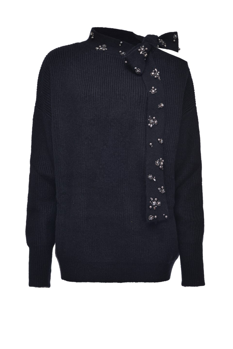 Pullover with embroidered sash-effect collar