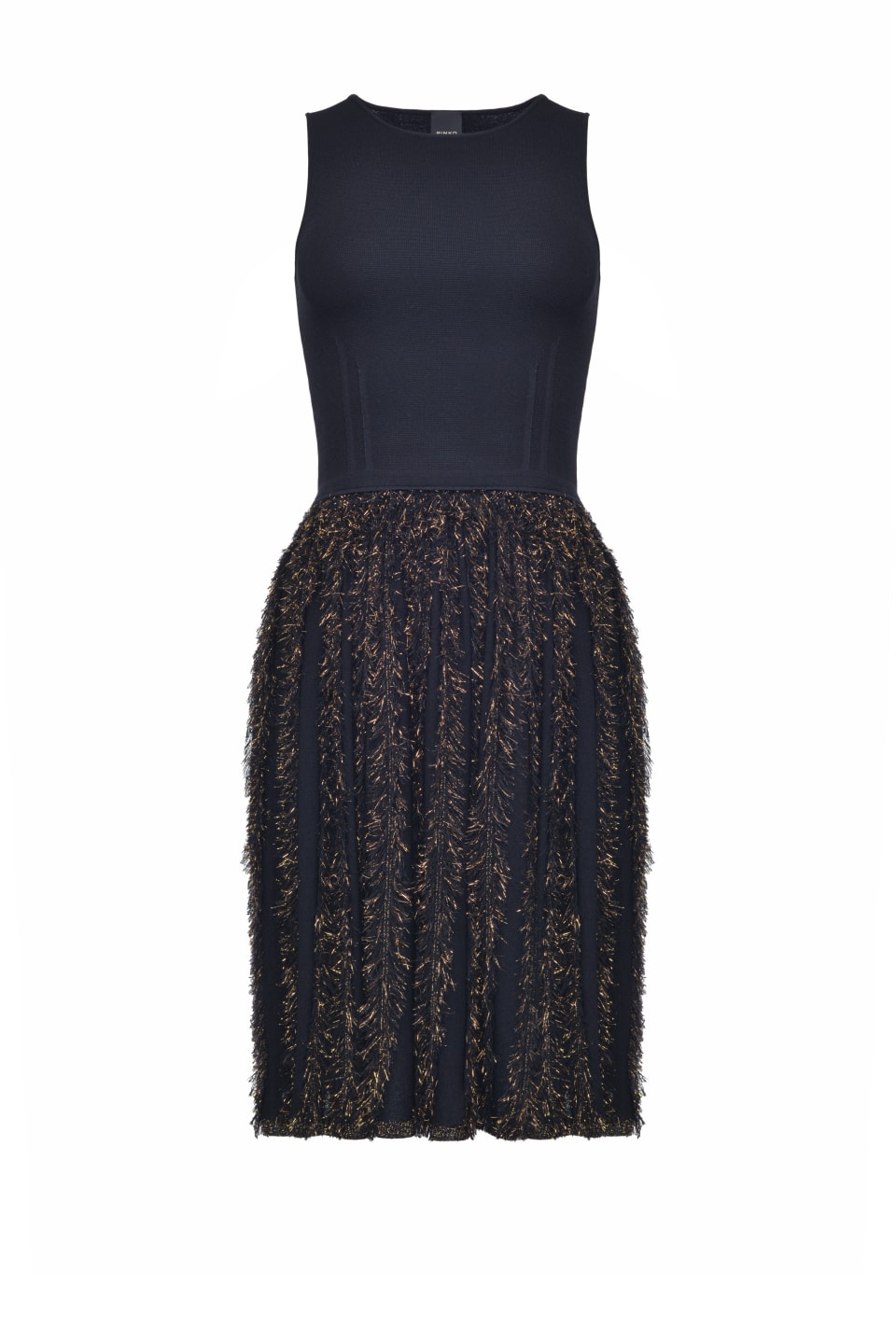 Short dress with lurex fringe skirt - Pinko