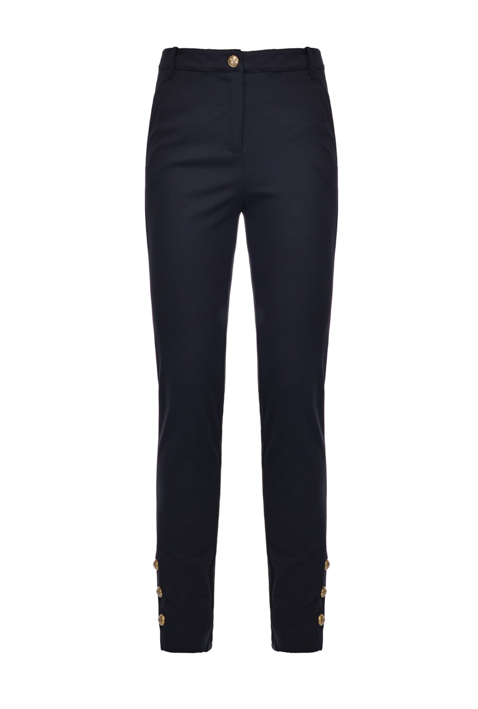 Figure-hugging trousers with buttons at the hem