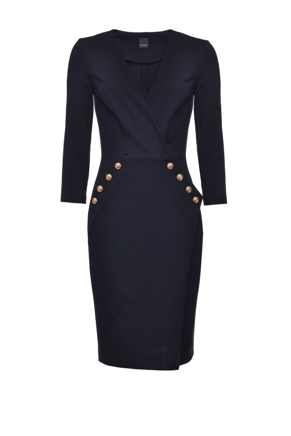 Sheath dress with gold buttons