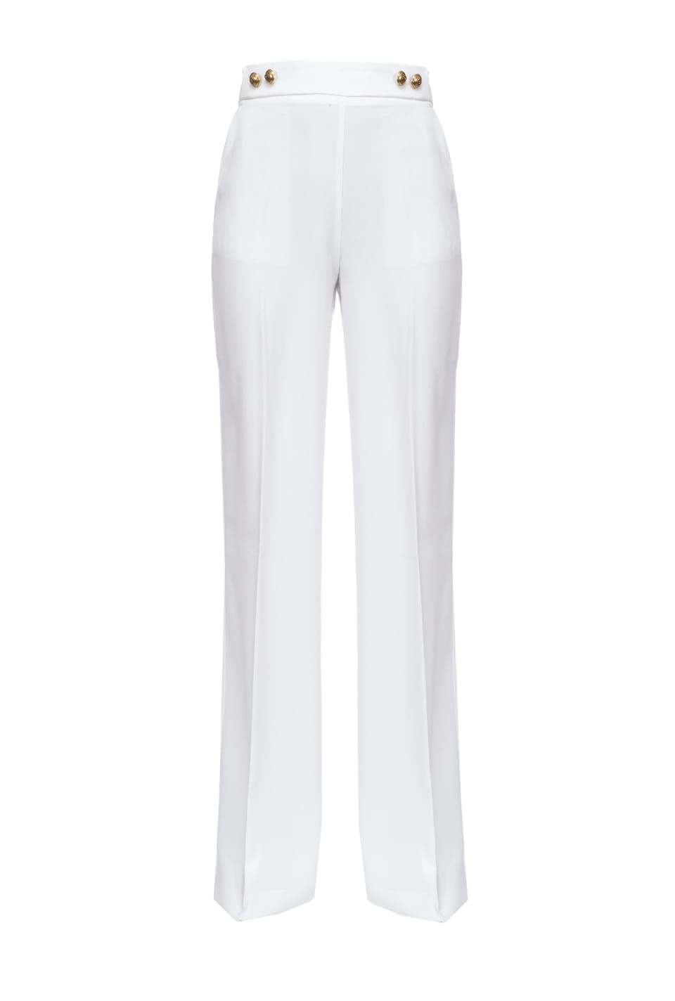 High-waisted trousers with golden buttons