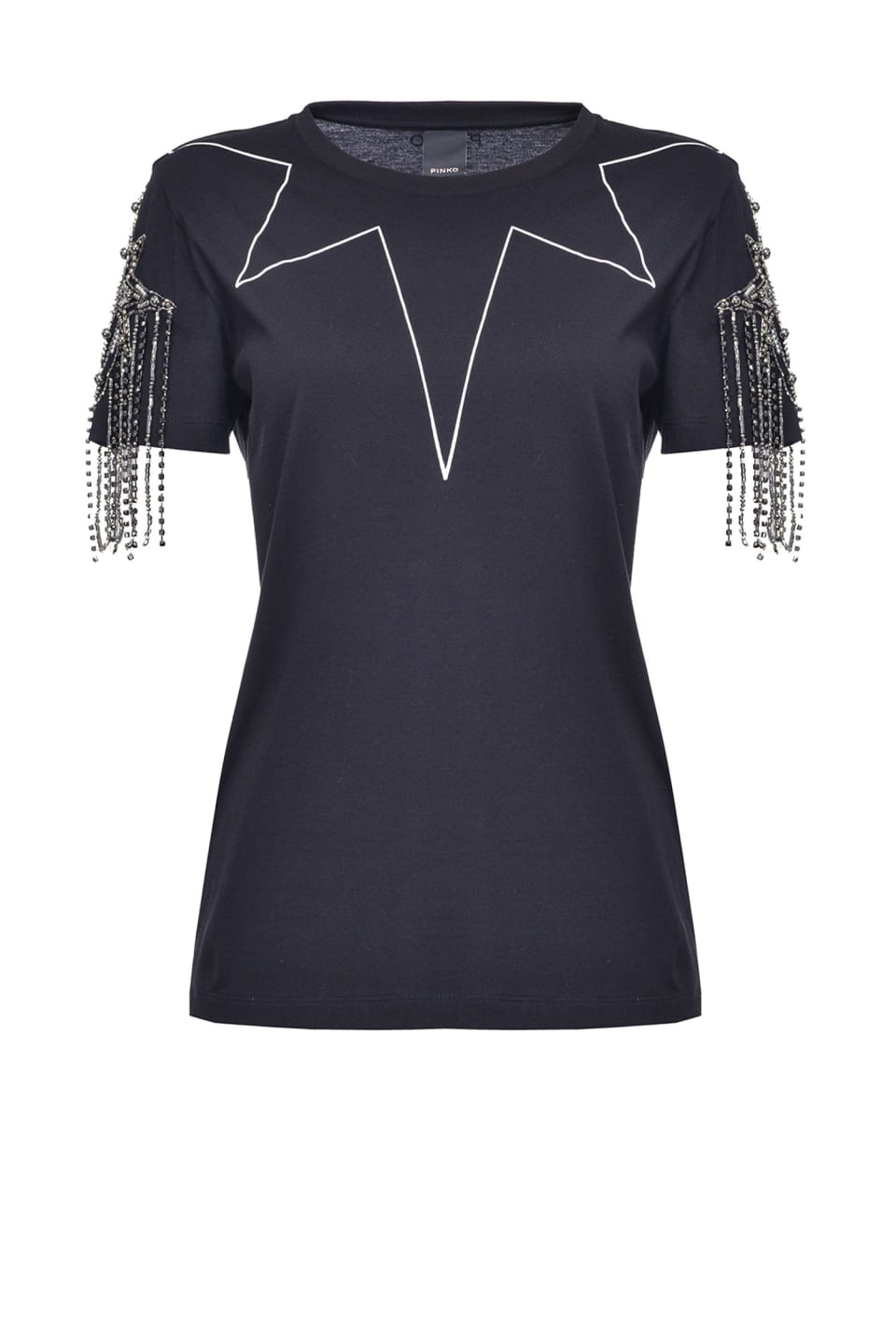 T-shirt with rhinestones on the sleeves
