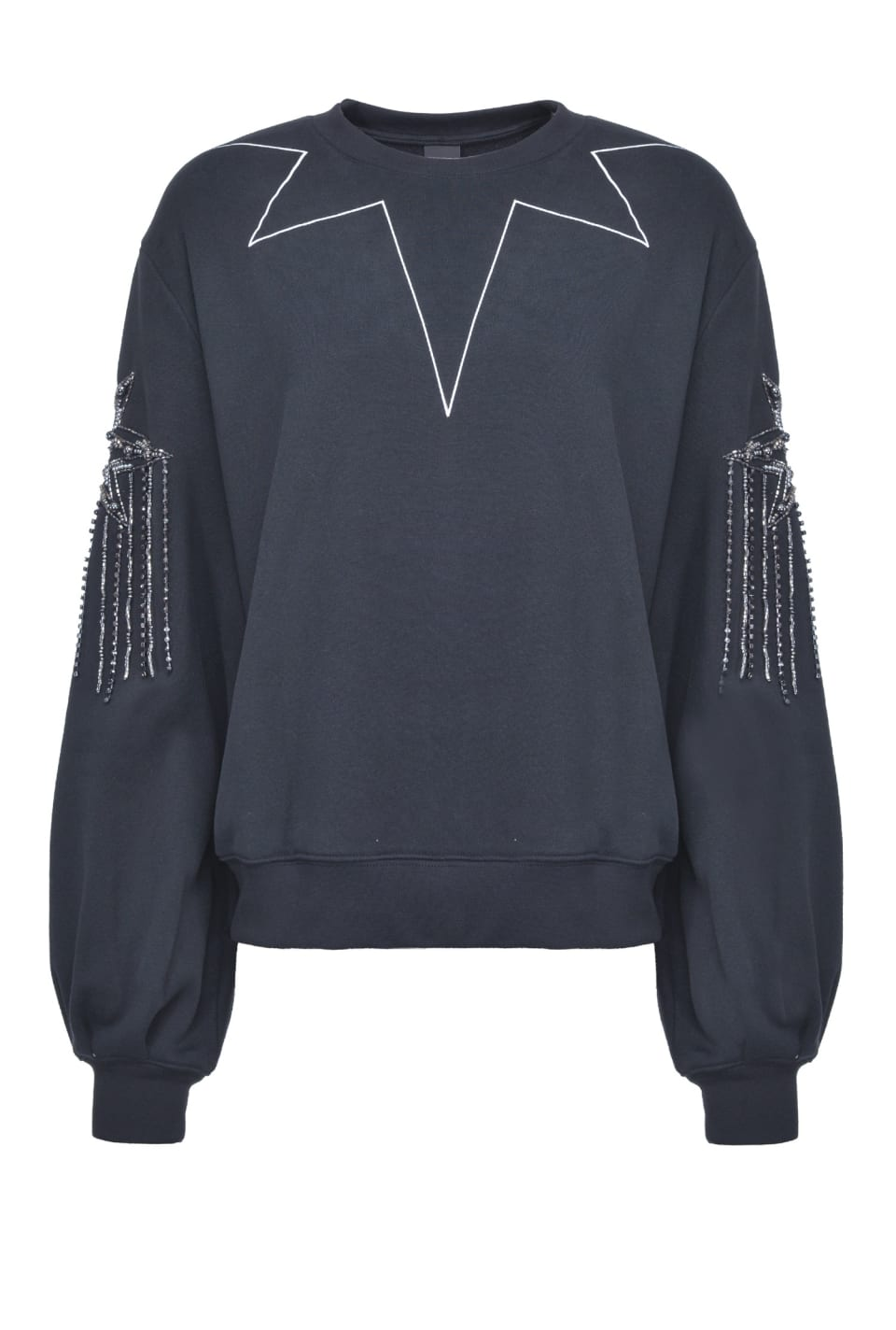 Sweatshirt with rhinestones on the sleeves - Pinko