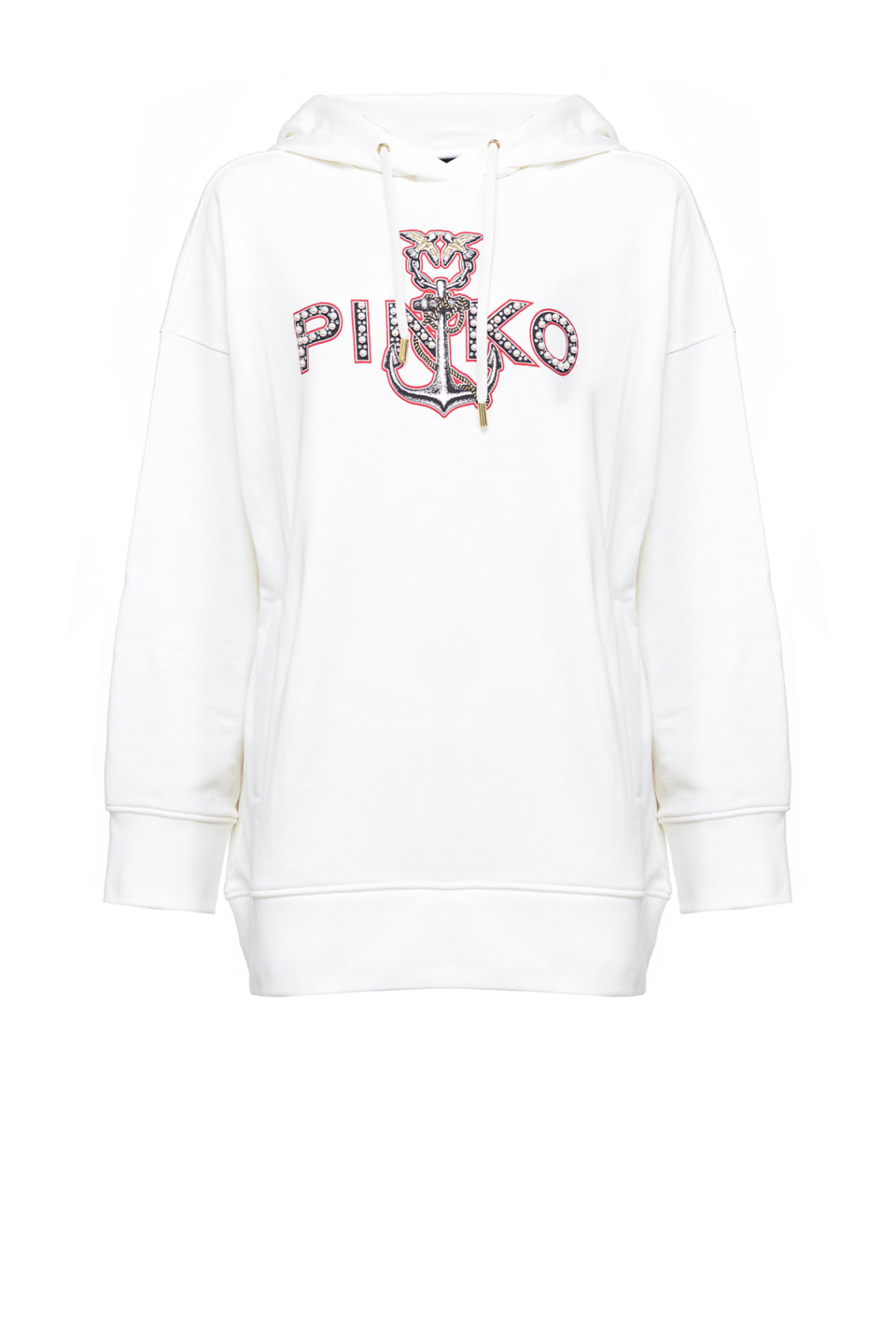 Sweatshirt with anchor print and pearls - Pinko