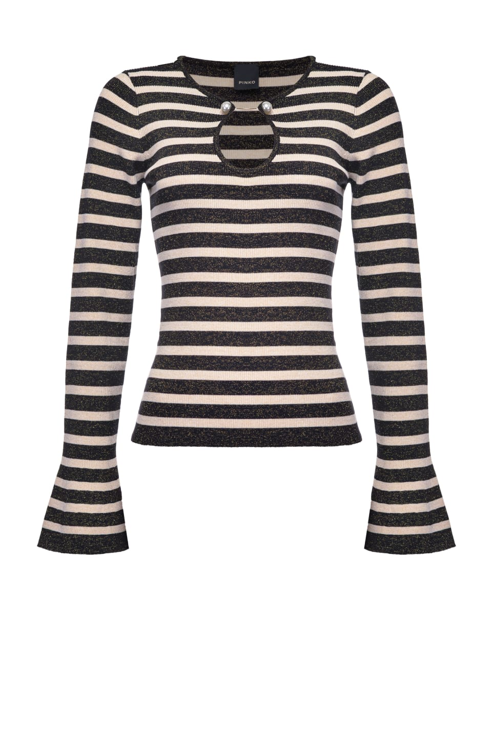 Striped top with pearls - Pinko
