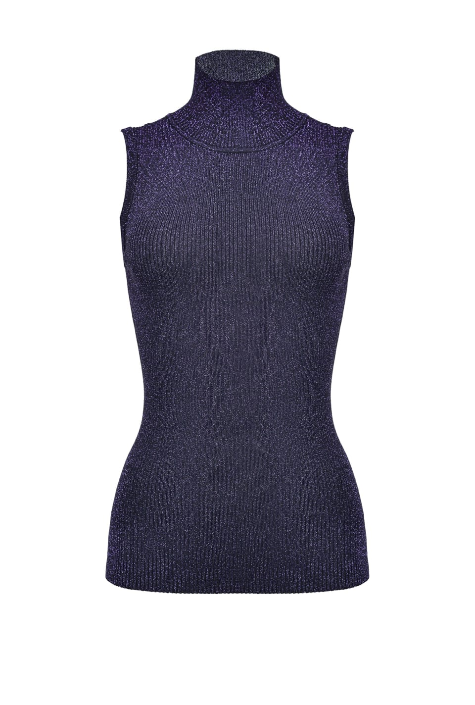 Sleeveless turtleneck in lurex