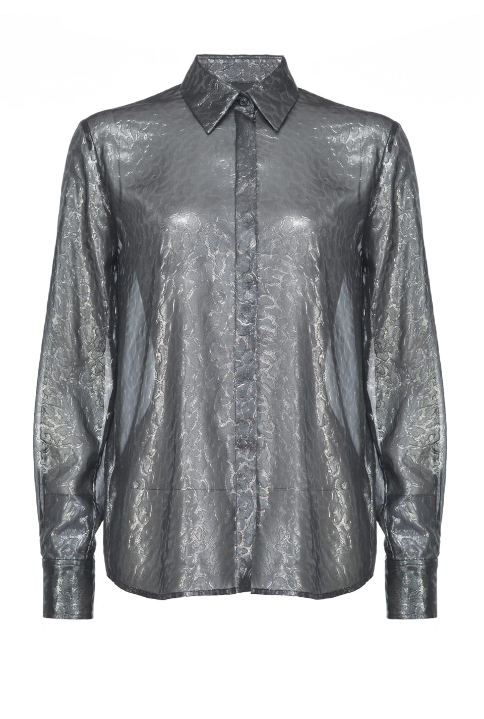 Shirt in leopard-print laminated georgette - Pinko