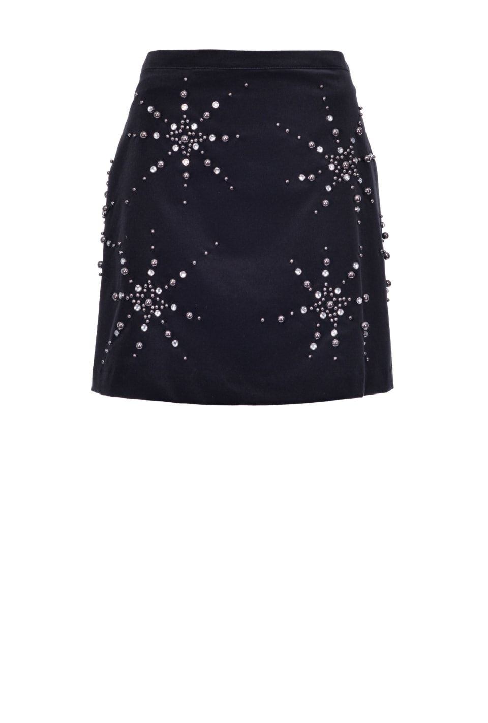 Embroidered velvet mini skirt