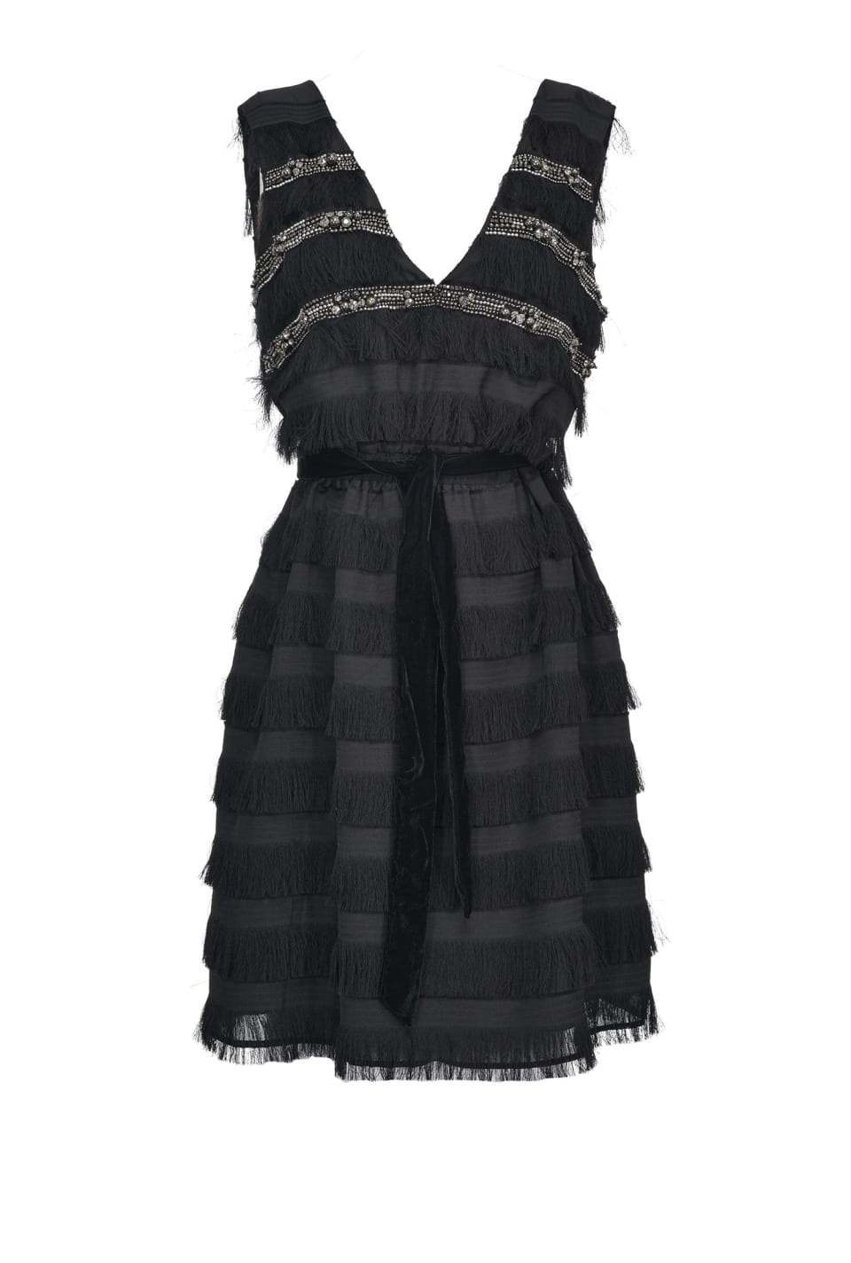 Jacquard dress with fringe and jewel embroidery