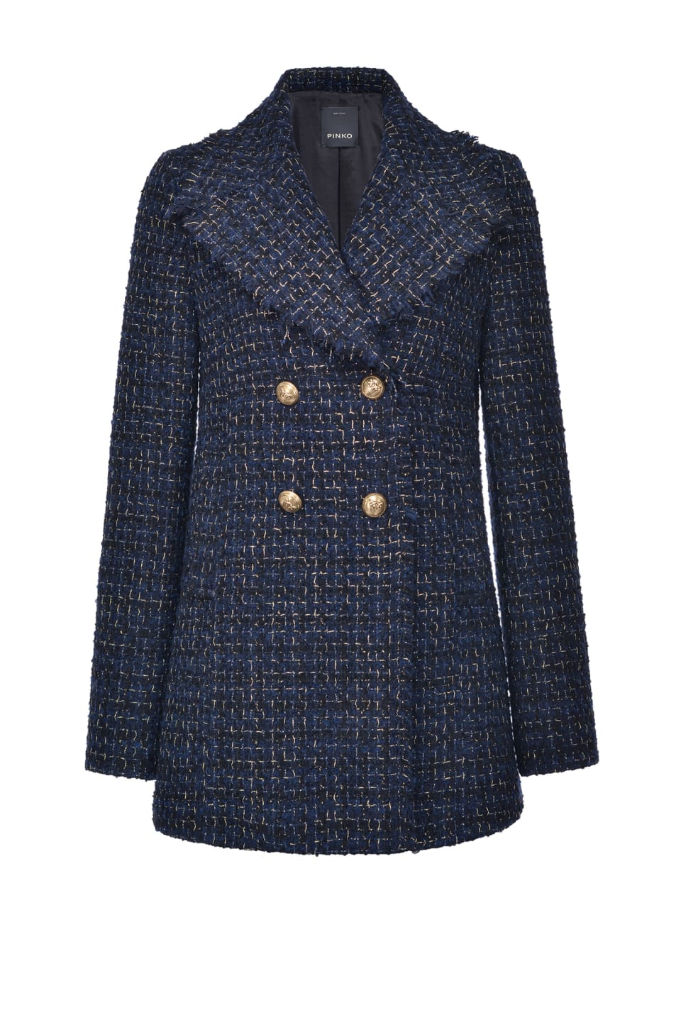 Patterned lurex tweed reefer jacket - Pinko