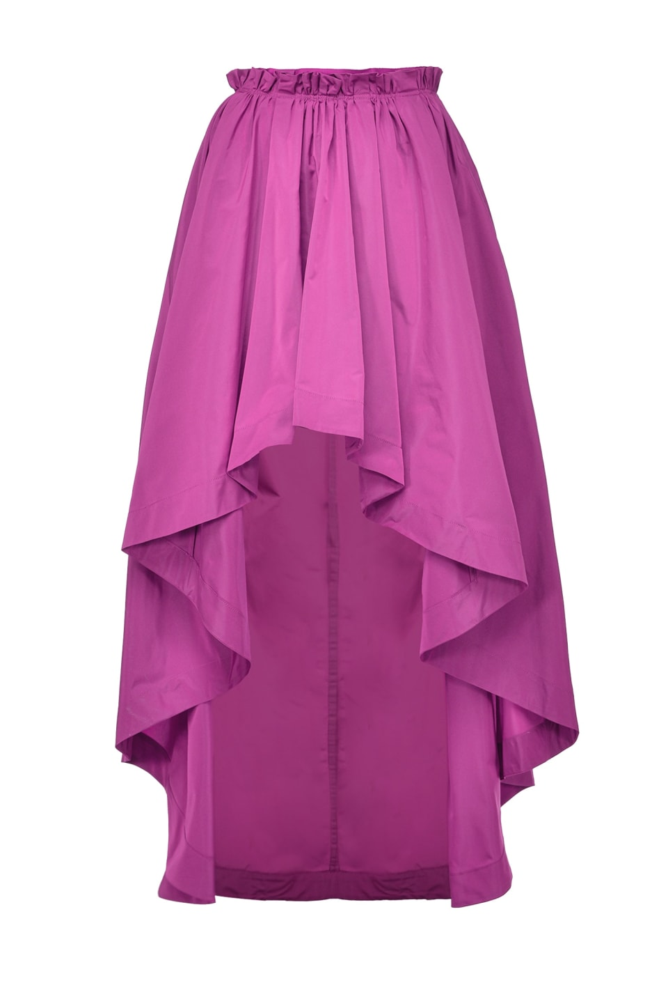 Long skirt in taffeta with gathering