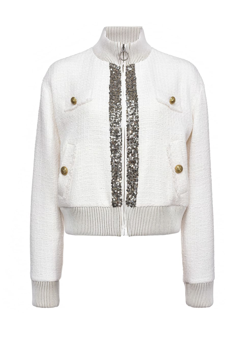 Bomber jacket with sequins and jewel buttons