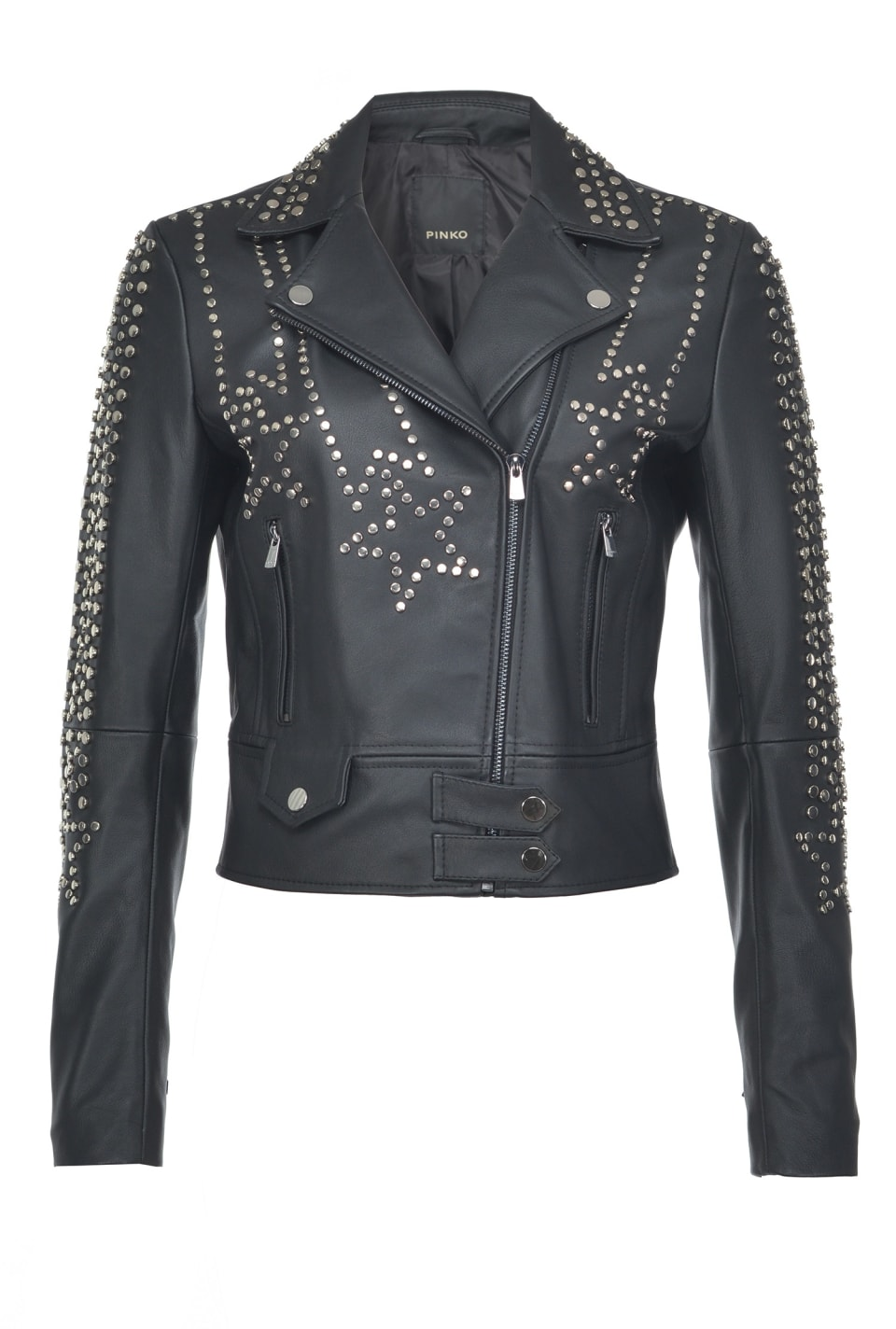 Biker jacket in leather with studs - Pinko